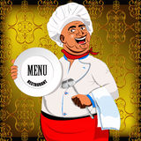 Eastern Chef and big plate Royalty Free Stock Images