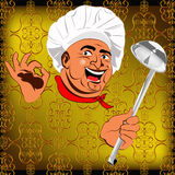 Eastern Chef and big spoon Royalty Free Stock Photo