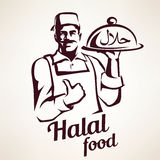 Eastern chef with plate of halal food Stock Images