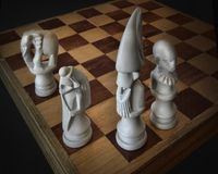 Eastern Chess Game Pieces. Chess pieces reflective of the origin of the game of chess in India royalty free stock photos