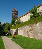 Eastern city wall in Rothenburg ob der Tauber Royalty Free Stock Photo