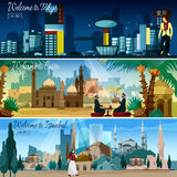 Eastern Cityscape 3 Flat Banners Set. Flat horizontal interactive banners set of eastern historical cities and asian residential area cityscape abstract vector Royalty Free Stock Photos