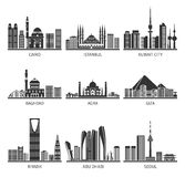 Eastern Cityscapes Landmarks Black Icons. Eastern capitals famous cityscapes with modern buildings and historical landmarks black icons set abstract isolated Royalty Free Stock Image