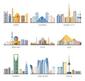 Eastern Cityscapes Landmarks Flat Icons Collection Royalty Free Stock Photo