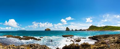 Eastern coast of the island of Grande-Terre, in Guadeloupe, french West Indies.panoramic view. La Pointe des Chateaux Castles headland is a peninsula that stock image