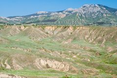 Eastern Crimean landscape with soil erosion. Royalty Free Stock Photography