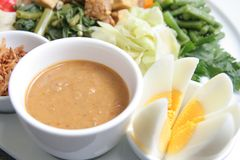 Eastern cuisine. Peanut sauce for Eastern cuisine named gado-gado from indonesia Royalty Free Stock Photography