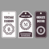Eastern decor with monograms. Vintage set of ornamental tags. Template labels for cards. Royalty Free Stock Photography