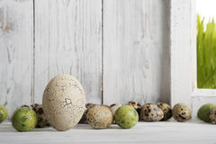 Eastern, Decoration with ceramic eggs and quail eggs Royalty Free Stock Image
