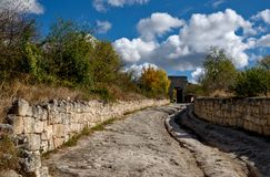 Eastern defensive gates of medieval city Chufut-Kale, Crimea. Eastern defensive gates of medieval city Chufut-Kale near by Bakhchisaray in Crimea royalty free stock image