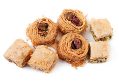 Eastern dessert baklawa. With pistachio nuts Stock Photos