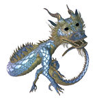 Eastern Dragon. 3d render of a Chinese dragon, against a white background Stock Photo
