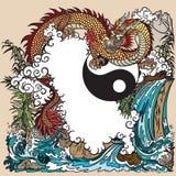 Eastern dragon in a landscape illustration stock illustration