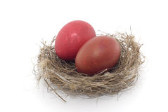 Eastern eggs. Colorful eastern eggs and bird nest Stock Image