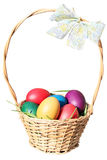 Eastern eggs in the basket Royalty Free Stock Images