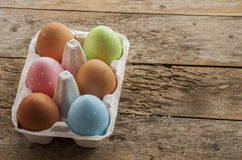 Eastern eggs close up on wood Royalty Free Stock Photo
