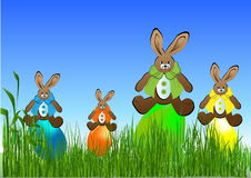Eastern eggs  on the grass Stock Photos