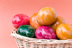 Eastern Eggs In The Basket Stock Image