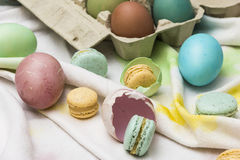 Eastern eggs and macarons Stock Image
