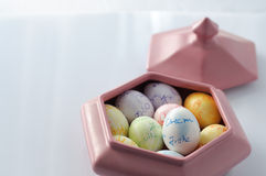 Eastern Eggs in Pink Bowl Royalty Free Stock Images