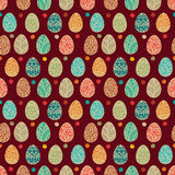 Eastern eggs. Vector illustration.Vector seamless pattern with colorful eggs on BROWN background Stock Image