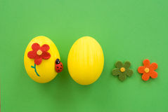 Eastern eggs. On wooden background Royalty Free Stock Images