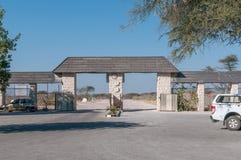 Eastern entrance to Okaukeujo Rest Camp in Etosha National Park Royalty Free Stock Photos