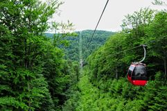 Eastern europe Beskids mountains. South of Poland Jaworzyna Kryn. Icka gondola lift view Stock Photos