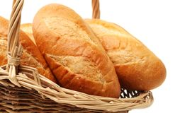 Eastern Europe long loaf bread. Isolated on the white background Stock Image