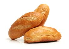 Eastern Europe long loaf bread. Isolated on the white background Stock Photo