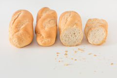 Eastern Europe long loaf bread on white background. Royalty Free Stock Images