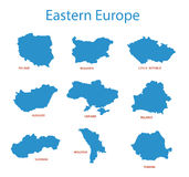Eastern europe - maps of territories - vector stock illustration