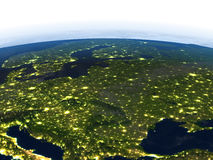 Eastern Europe at night on planet Earth Stock Image