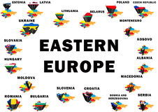 Eastern Europe. Outline map of Eastern Europe with each country raised and highlighted with the national flag Royalty Free Stock Photos