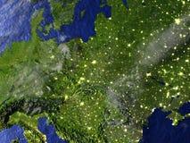 Eastern Europe på natten på realistisk modell av jord Fotografering för Bildbyråer