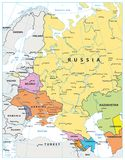 Eastern Europe Political Map Isolated on white. Detailed vector illustration of map Royalty Free Stock Photos