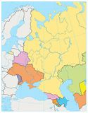Eastern Europe Political Map. No text. Detailed vector illustration of map Royalty Free Stock Photos