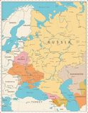 Eastern Europe Political Map Retro Colors. Detailed vector illustration of map Royalty Free Stock Image
