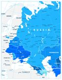 Eastern Europe Political Map in shades of blue. Detailed vector illustration of map Stock Image
