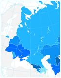 Eastern Europe Political Map in shades of blue. No text. Detailed vector illustration of map Royalty Free Stock Photography