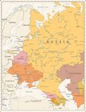 Eastern Europe Political Map Vintage Color. Detailed vector illustration of map Royalty Free Stock Photography