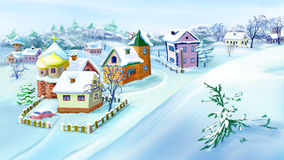 Eastern  Europe Traditional Village in Snowy Winter. Stock Photos
