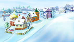 Eastern  Europe Traditional Village in Winter. Royalty Free Stock Photo
