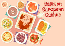 Eastern european cuisine festive dishes icon design. Eastern european cuisine festive dishes icon of sausages stuffed with pickles, fried and boiled fish, beef Stock Photos