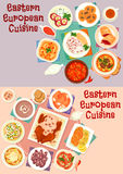 Eastern european cuisine icon set for food design. Eastern european cuisine menu icon set with beef, duck and fish baked with sauce, bread and meat soup, pickled Stock Images