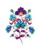 Eastern european decorative ethnic flowers. Watercolor decor Stock Photo