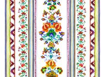 Eastern european embroidery motif - seamless floral border with decorative flowers, stripes. Watercolor Stock Photos