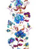Eastern european floral decor - decorative flowers at dark background. Seamless floral border. Watercolor stripe Royalty Free Stock Images