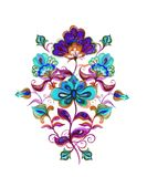Eastern european ornate flowers. Watercolor motif - floral embroidery Royalty Free Stock Photo
