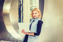 Eastern European Professional Woman working at high tech firm in royalty free stock images